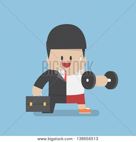 Businessman Between Work Mode And Exercise