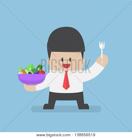 Businessman Holding Vegetables Salad Bowl And Fork On His Hand