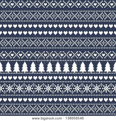 Simple Christmas pattern - Xmas trees, hearts, snowflakes on blue background. Seamless Christmas background, card - Scandinavian sweater style. Design for textile, wallpaper, web, fabric, decor etc.