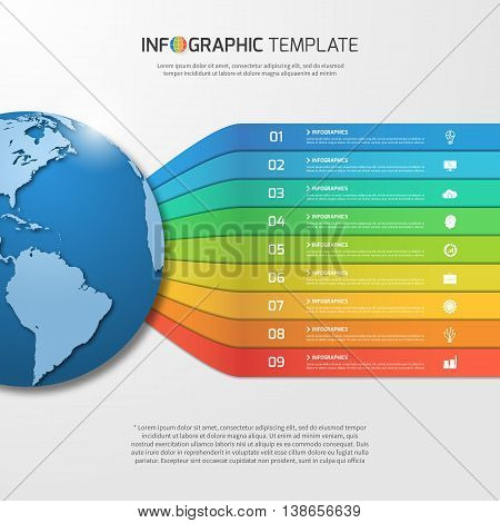 Infographic Template With Globe With 9 Options, Parts, Steps, Processes For Graphs, Charts, Diagrams