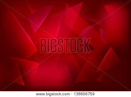 Vector Broken Glass Ruby Background. Red Decorative Banner. Explosion, Destruction Cracked Surface Illustration. Abstract 3d