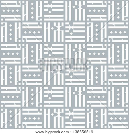 Vector Seamless Pattern with Old Slavonic Letters. Vintage Ligature from Russian Language. Vector Decorative Ornament. Abstract grey Geometric texture.