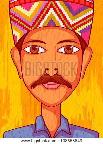 Vector design of Himachal Man in traditional costume of Himachal Pradesh, India
