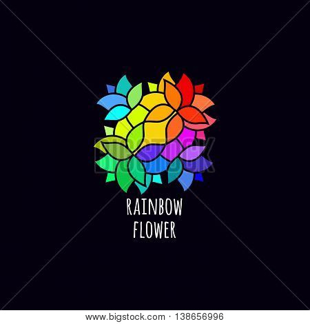 Bright Colorful Abstract Logo Concept. Vector Mosaic Symbol. Symmetric Sign with Flower Petals.