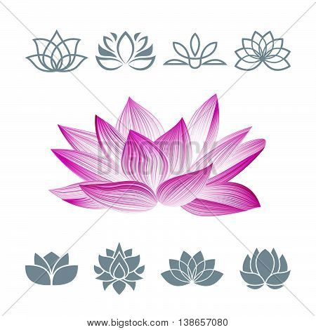 Lotus Flower Icons Set. Vector Floral Oriental Symbol Isolated on White. Silhouettes Concept for Spa Centers, Yoga Classes etc.