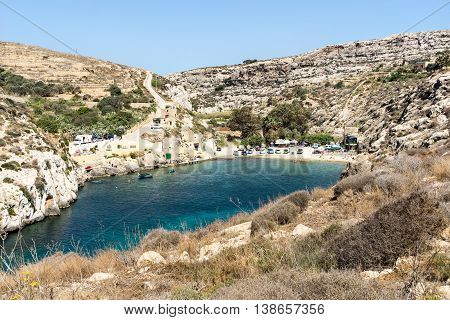The Mgarr Ix-Xini beach has beautiful waters and great snorkelling and diving