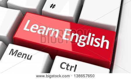 Learn English key on the computer keyboard three-dimensional rendering 3D illustration