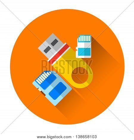 Flash Drive Set Icon Flat Vector Illustration