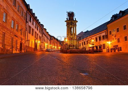 BANSKA STIAVNICA, SLOVAKIA - JUNE 08, 2016: Square in the old town of Banska Stiavnica on une 08, 2016.