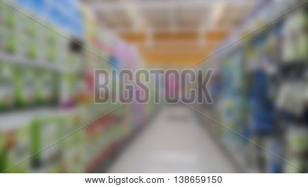 Aisle And Product Selling In Supermarket - Blur For Use As Background