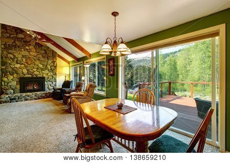 Great Living Room And Dining Interior In American Country House.