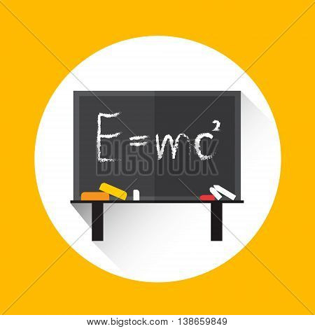 Albert Einsteins Physical Formula on School Board Mass Energy Equivalence Flat Vector Illustration