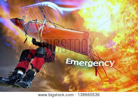 Concept  emergency  fireman in action rescue .