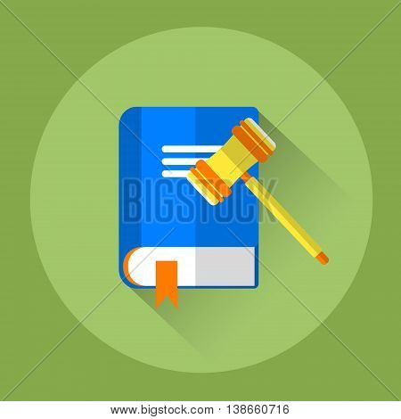 Judge Mallet With Law Book Colorful Icon Flat Vector Illustration