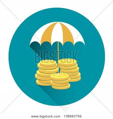 Coin Under Umbrella Financial Security Concept Colorful Icon Flat Vector Illustration