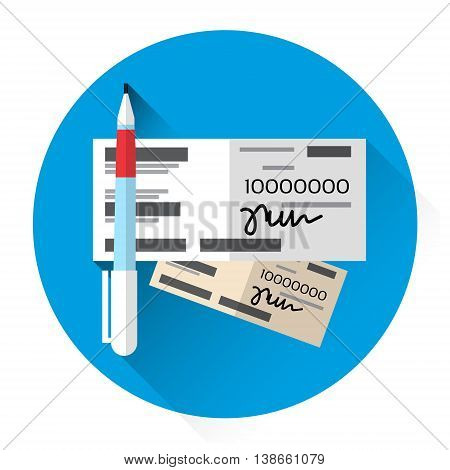 Financial Bill Document Check Book Icon Flat Vector Illustration
