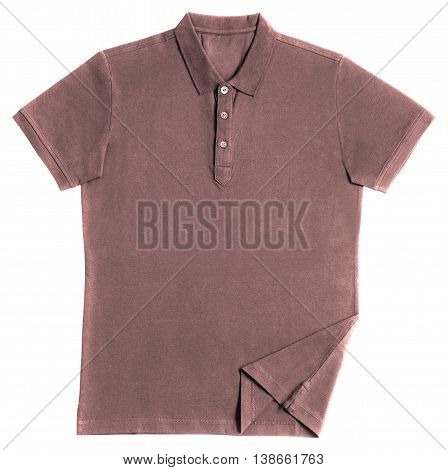Pink polo shirt isolated on white background