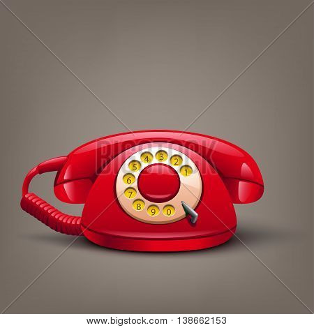 illustration of red retro telephone with shadow on brown background