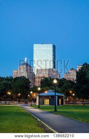 The Boston Common At Night In Boston Ma