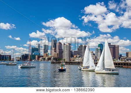 Boston Skyline Seen From Piers Park,