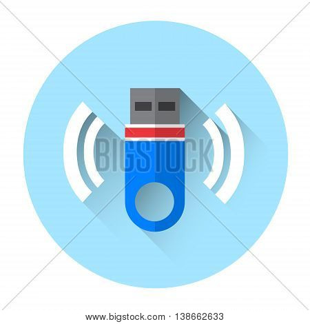 Flash Drive Colorful Icon Flat Vector Illustration