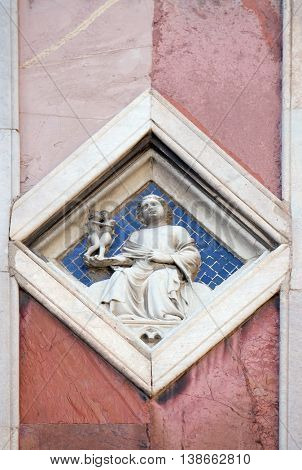 FLORENCE, ITALY - JUNE 05: Venus by Nino Pisano, 1337-41., Relief on Giotto Campanile of Cattedrale di Santa Maria del Fiore (Cathedral of Saint Mary of the Flower), Florence, Italy on June 05, 2015
