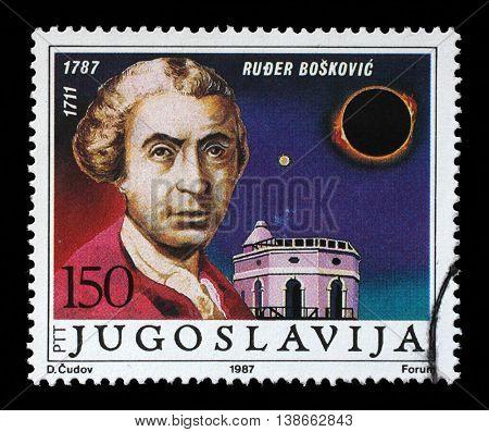 ZAGREB, CROATIA - JULY 21: stamp printed in Yugoslavia shows The 200th Anniversary of the Birth of Ruder Josip Boskovic, Ragusan astronomer, mathematician, circa 1987, on June 21, 2014, Zagreb,Croatia