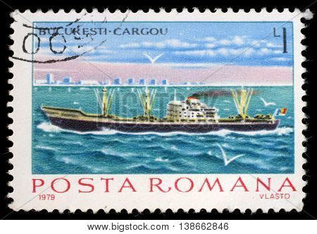 ZAGREB, CROATIA - JULY 19: a stamp printed in Romania shows Cargo steamer Bucuresti, circa 1979, on July 19, 2012, Zagreb, Croatia