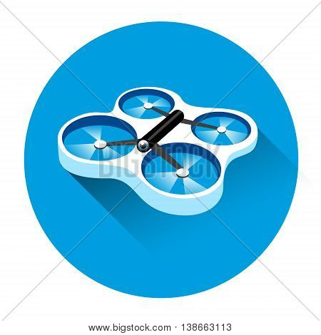 Drone Flying Air Quadrocopter Icon Flat Vector Illustration