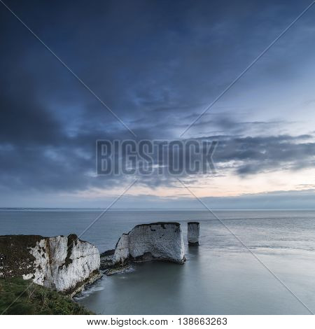 Beautiful Sunrise Landscape Over Old Harry Rocks In Dorset