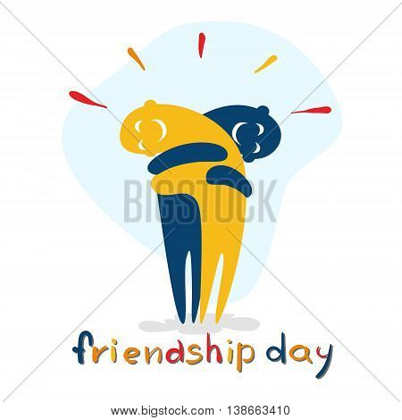 Friendship Day Cartoon Characters Embrace Friend Holiday Flat Vector Illustration