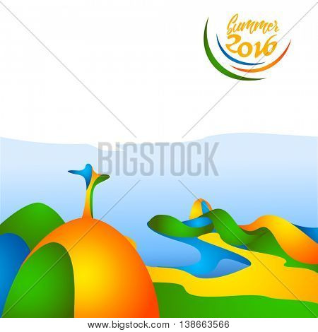 Summer sunny vacations 2016 in yellow, green, blue colors. Brazil Carnival. Vector illustration