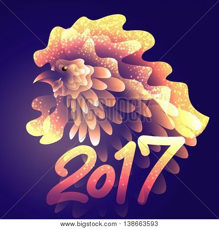 Artistically drawn bright fire rooster on dark background. Symbol 2017 New year. Vector illustration