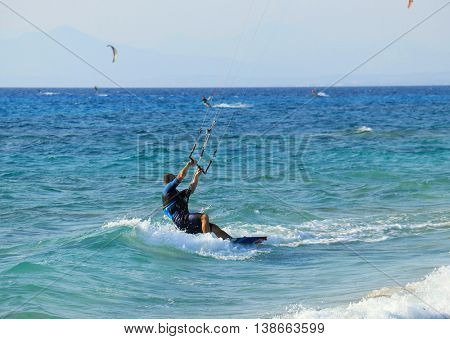 Kite surfers on the Milos beach in Lefkada.