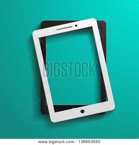 illustration of black and white color tablets lying on blue background