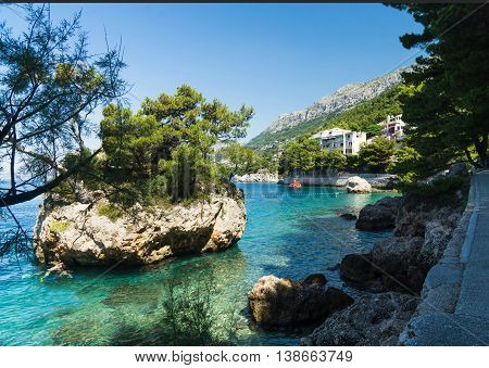 Coast in Brela. Brela is a seaside resort on the Makarska Riviera