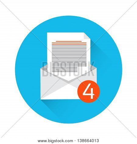 Envelope Open Mail Email Inbox Message Icon Flat Vector Illustration