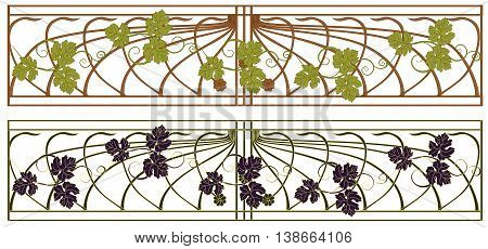 Banners in the art Nouveau style with grape vines.