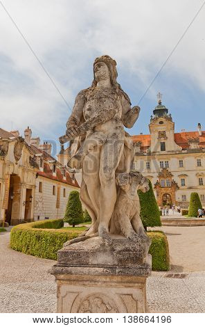 VALTICE CZECH REPUBLIC - MAY 29 2016: Sculpture of Heracles (circa 18th c.) in Valtice Palace in Czech Republic. Palace was the seat of the ruling princes of Liechtenstein