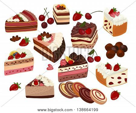 Set of isolated cakes decorated with cream and fruit, rolls, pastries and candy.