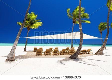 Beautiful White Sandy Beach Of A Luxury Resort In Punta Cana