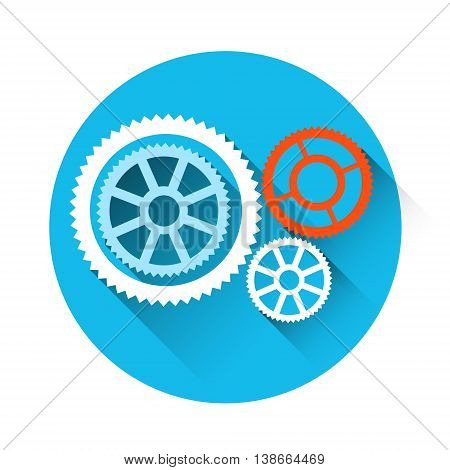 Cog Wheel Mechanical Detail Part Icon Flat Vector Illustration