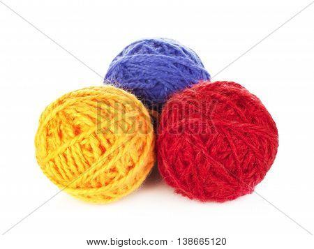 colorful yarn balls, isolated on white background