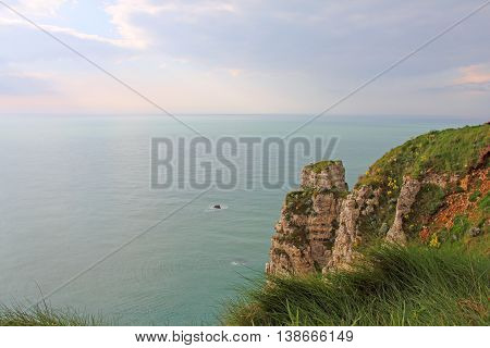View on sea and cliffs in Etretat Normandy France