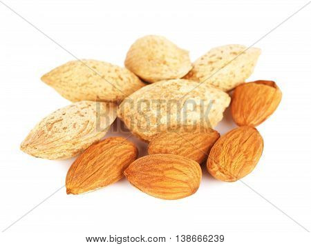 almonds nuts peeled and unpeeled, isolated on white background