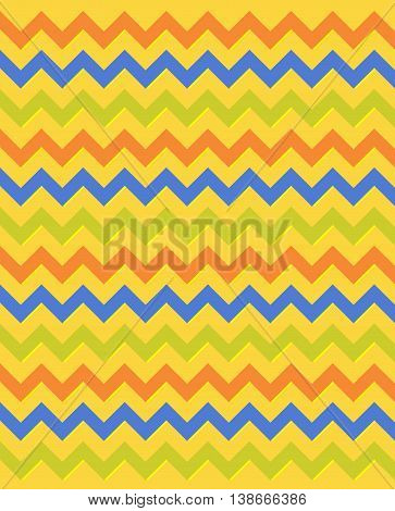 Egyptian multicolored zigzag pattern in red, blue and green colors