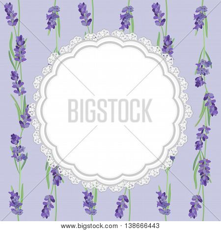 Lace tissue paper and sprigs of lavender card, label.