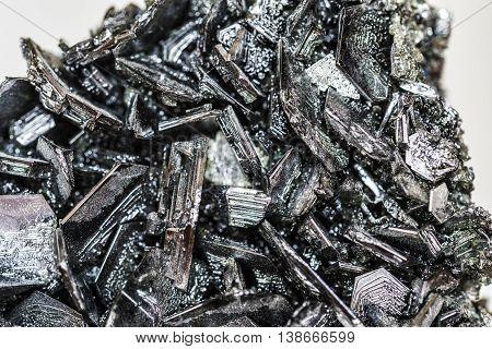 Black mineral piece studio close up macro (magnetite)