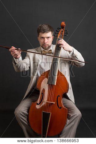 Portrait of a musician playing the viola da gamba