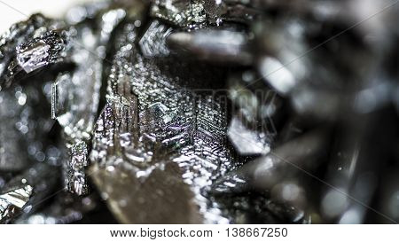 Black mineral piece studio close up macro (magnetite)